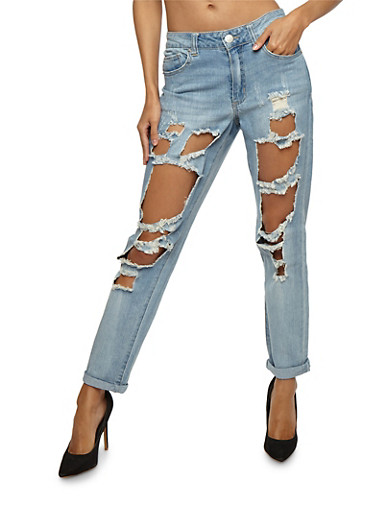 Almost Famous Ripped Roll Cuff Jeans,LIGHT WASH,large