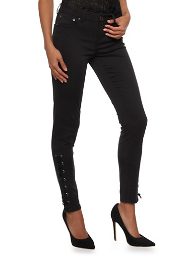 Almost Famous Skinny Pants with Lace Up Trim,BLACK,large