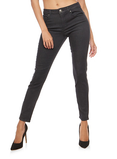 Almost Famous Colored Skinny Jeans,BLACK,large