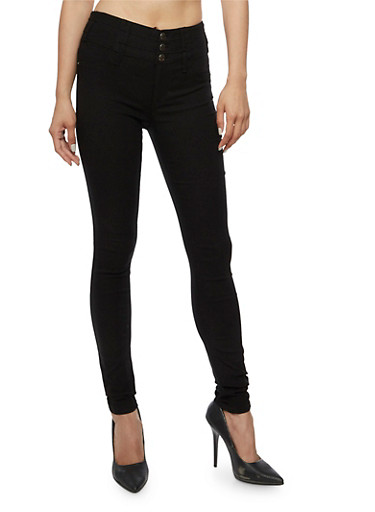 Almost Famous 3 Button Stretch Jeans,BLACK,large