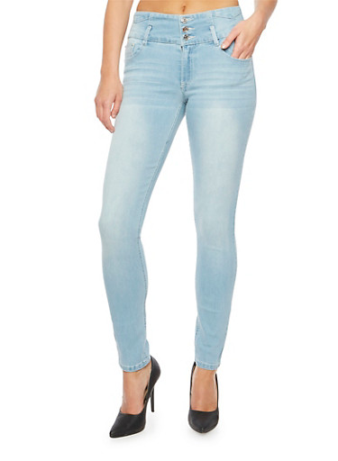 Almost Famous Skinny Jeans with Wide Waistband,LIGHT WASH,large
