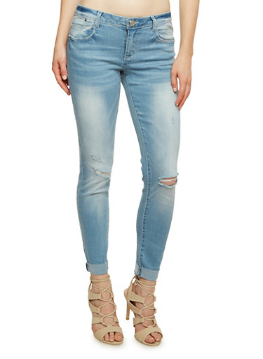 Almost Famous Distressed Skinny Jeans with Frayed Cuffs,LIGHT WASH,large