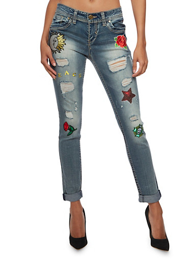 Almost Famous Distressed Skinny Jeans with Patches,TINT WASH,large