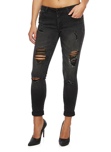 Almost Famous Distressed Skinny Jeans,BLACK,large