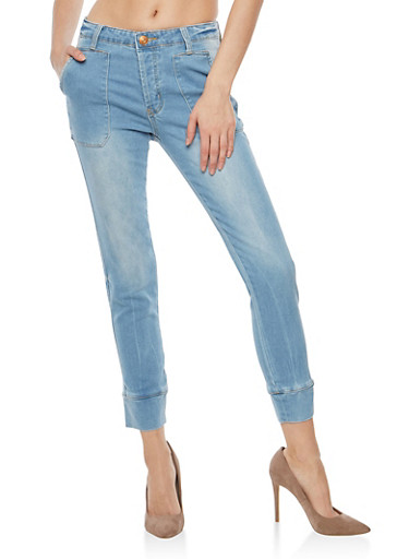 Almost Famous Tapered Knit Jeans,LIGHT WASH,large