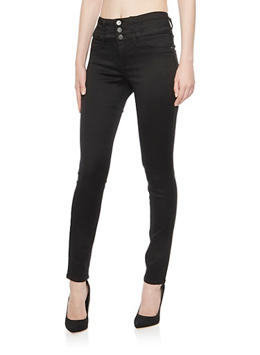 Almost Famous Skinny Jeans with Wide Waistband,BLACK,large