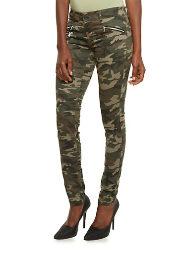 Almost Famous Skinny Camo Pants with Zipper Detail,CAMOUFLAGE,large