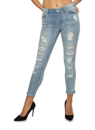 Almost Famous Destroyed Frayed Jeans,LIGHT WASH,large