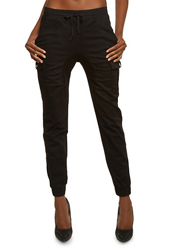 Almost Famous Cargo Joggers with Six Pockets,BLACK,large