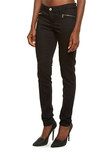 Almost Famous Skinny Moto Jeans,BLACK,large