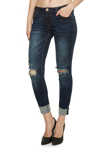 Almost Famous Skinny Jeans with Ripped Knees,DARK WASH,large
