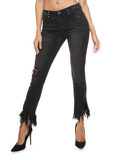 Almost Famous Studded Jeans with Frayed Hem,BLACK,large