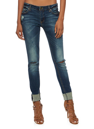 Almost Famous Distressed Skinny Jeans with Frayed Cuffs,TINT WASH,large
