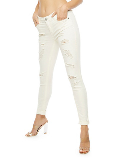 Almost Famous Destroyed Skinny Jeans,IVORY,large