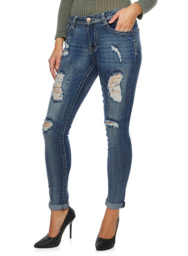 Almost Famous Distressed Skinny Jeans,MEDIUM WASH,large