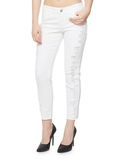 Almost Famous Destroyed Front Skinny Jeans,WHITE,large
