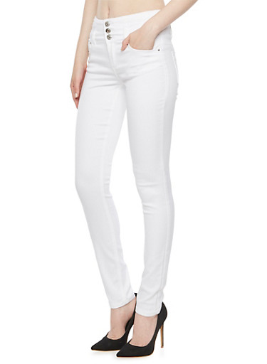 Almost Famous High Waisted Skinny Jeans,WHITE,large