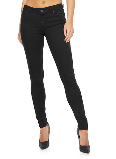 Almost Famous Exposed Button Skinny Jeans,BLACK,large