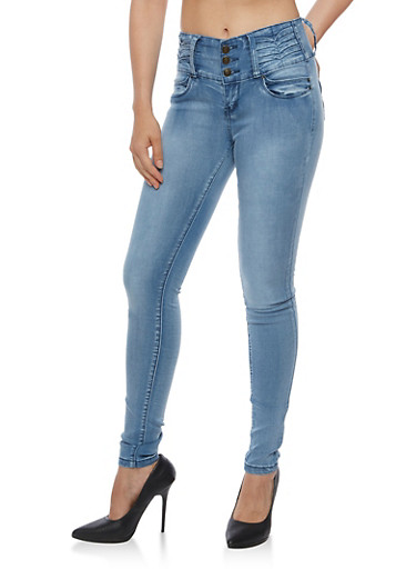 Three Button Pleated Waist Jeans,ICE WASH,large