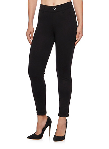Tailored Pants with Fixed Cuffs,BLACK,large