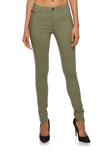 Skinny Pants with Moto Paneling,DUSTY OLIVE,large