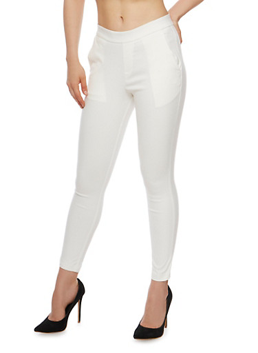 Solid Soft Knit Jeggings,IVORY,large