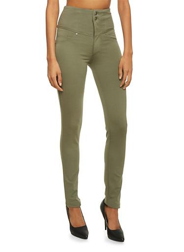 High Waisted Skinny Pants,OLIVE,large