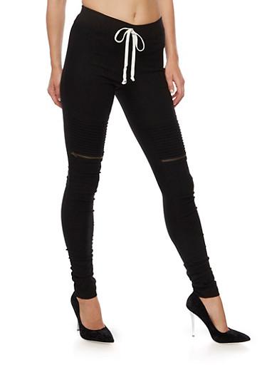 Ribbed Motto Skinny Pants,BLACK,large