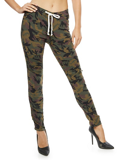 Camo Ruched Zip Moto Pants,CAMOUFLAGE,large