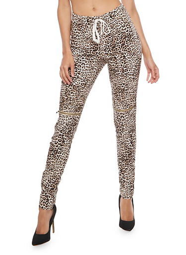 Leopard Zip Moto Ruched Pants,BROWN,large