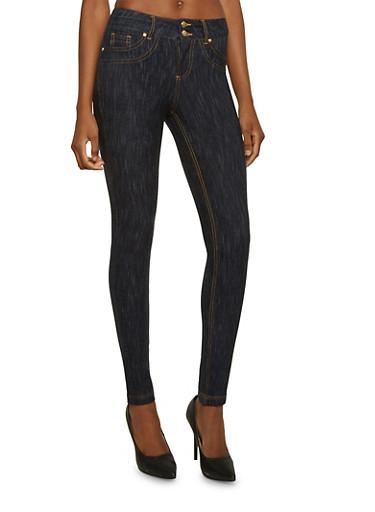 Stretch Knit Skinny Jeans,DARK WASH,large