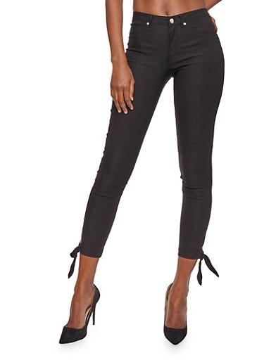 Tie Bottom Skinny Pants,BLACK,large