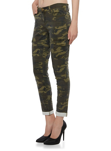 Twill Skinny Cargo Pants in Camo Print,CAMOUFLAGE,large