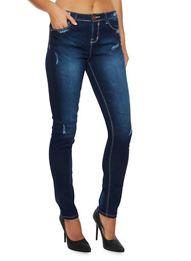Distressed Skinny Jeans,DARK WASH,large
