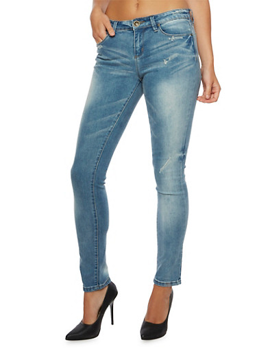 Distressed Boyfriend Jeans with Removable Chain Belt,MEDIUM WASH,large