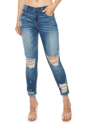 Cello Frayed Whisker Wash Skinny Jeans,DARK WASH,large