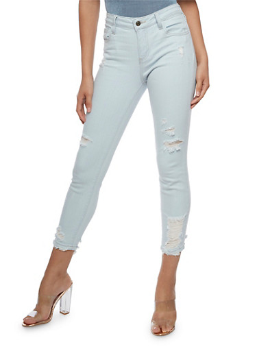 Cello Light Wash Distressed Skinny Jeans,LIGHT WASH,large