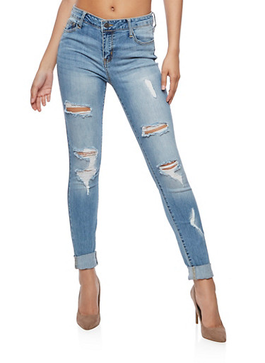Cello Faded Destroyed Jeans,MEDIUM WASH,large