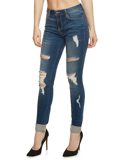 Cello Destroyed Roll Cuff Skinny Jeans,DARK WASH,large