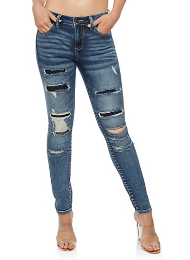 Cello Ripped Patched Skinny Jeans,DARK WASH,large