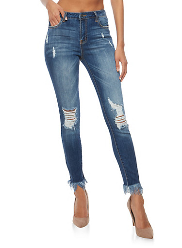 Cello Skinny Frayed Hem Jeans,MEDIUM WASH,large