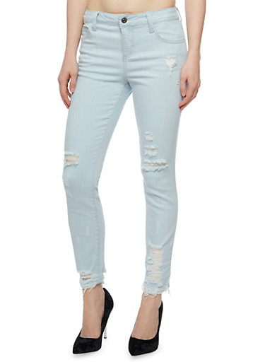 Cello Distressed Light Wash Skinny Jeans,LIGHT WASH,large