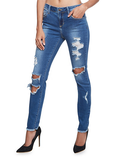 Cello Distressed Skinny Jeans with Frayed Cuffs,MEDIUM WASH,large