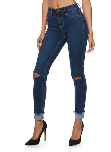 Cello Jeans with Distressed Knees and Cuffs,DARK WASH,large