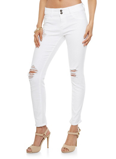 Distressed Skinny Jeans,WHITE,large