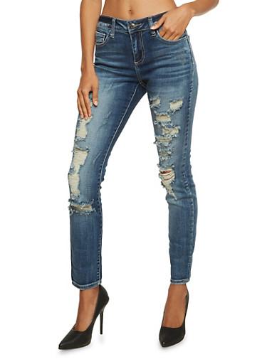Cello Distressed Skinny Jeans,MEDIUM WASH,large