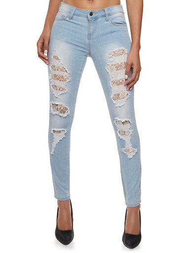 Cello Ripped and Faded Skinny Jeans with Lace Layers,LIGHT WASH,large