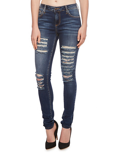 Cello Distressed Skinny Jeans with Five-Pocket Design,DARK WASH,large