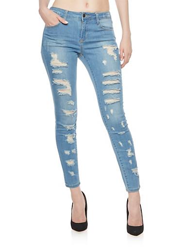 Cello Distressed Jeans in Stretch Denim,DARK WASH,large