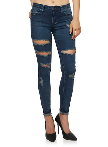 Cello Ripped Skinny Jeans,DARK WASH,large